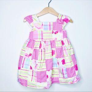 Gymboree Pink Green Patchwork Fit & Flare Dress